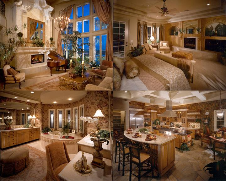 INTERIOR DESIGN  TAPESTRY    Henderson  Nevada  clockwise from top left  Living Room with  dramatic custom pre cast fireplace elevation  Master Bedroom with built in  media  . Custom Living Room. Home Design Ideas
